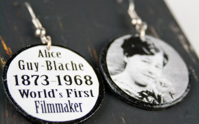 Alice Guy Blache First Filmmaker Recycled/Upcycled, Handmade Earrings