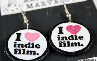 I Heart Indie Film Round Disc Earrings