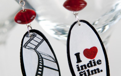I Heart Indie Film Oval with Red Bead Recycled/Upcycled Earrings