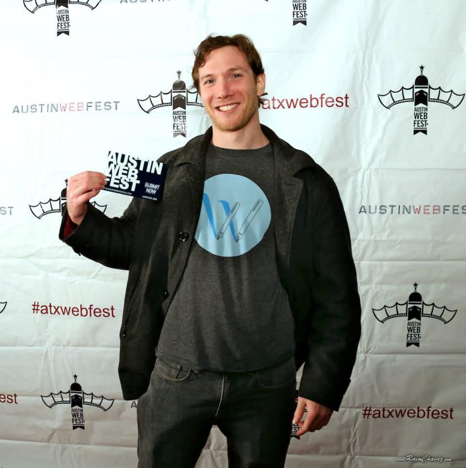 At Austin Web Fest in his WriterDuet T-Shirt.