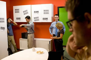 Crew works hard on the set of Call Center the web series