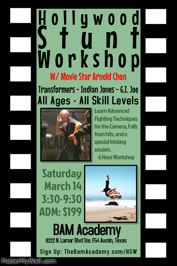 Hollywood Stunt Workshop with Arnold Chon ~ March 14, 2015