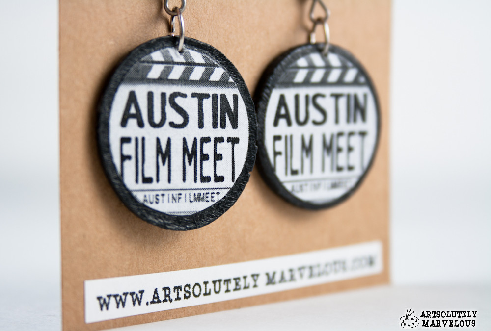 Austin Film Meet Round Disc Upcycled/Recycled Earrings