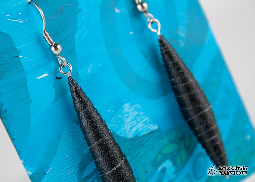 Simple Black Gaff Tape Bead Earrings