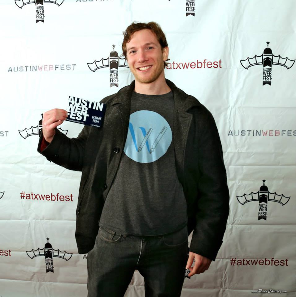 At Austin Web Fest in his WriterDuet T-Shirt.