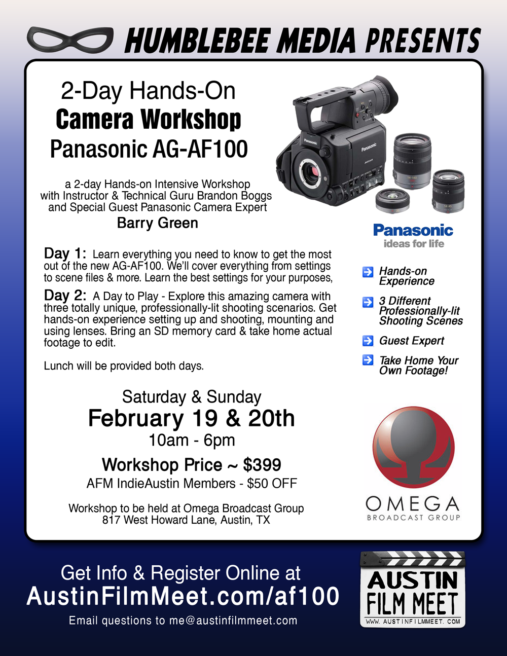 Saturday & Sunday, February 19-20 – AFM 2-Day Intensive Camera Training Workshop: Panasonic AG-AF100